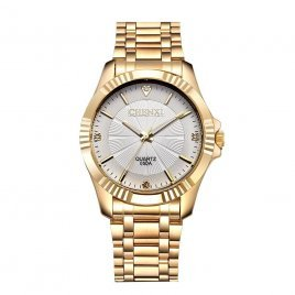 050A CHENXI Watch Men Fashion Golden Wristwatch Full Gold Stainless Steel Quartz Wrist Watch Men - Gold and Whtie