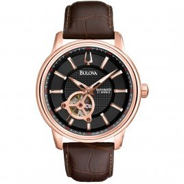 Bulova Men's Automatic Rose Gold-Tone Stainless Steel Brown Leather Strap Watch with Black Dial