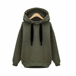 Autumn Loose Coat Jacket Long-sleeved Hooded Velvet Thick Sweater M L XL XXL - Green