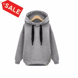 Autumn Loose Coat Jacket Long-sleeved Hooded Velvet Thick Sweater M L XL XXL - Grey