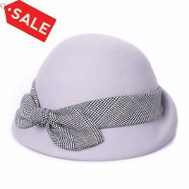 Autumn Winter British Fashion Elegant Retro Lattice Bow-Knot Wool Beret Basin Cap for Women