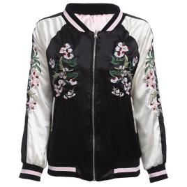 Chic Round Collar Elastic Sleeve Hem Embroidery Zipper Type Women Baseball Coat