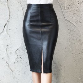 S-5XL Size Women PU Leather Autumn Winter Ladies Package Hip Front or Back Slit Pencil Midi Skirt