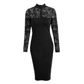 Sexy Women Bodycon Midi Dress Floral Lace High Neck Long Sleeve Back Zipper Night Club Party Dress