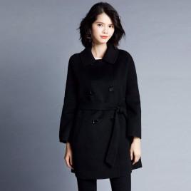 Solid Color Coat Female Long Jacket Woolen Coat
