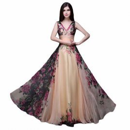 Strapless Elegant Giant Flower Chiffon Evening Dress Long Skirt Night Party High Waist Dressing